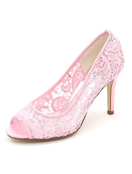 Milanoo Lace Wedding Shoes Peep High Heel Bridal Shoes