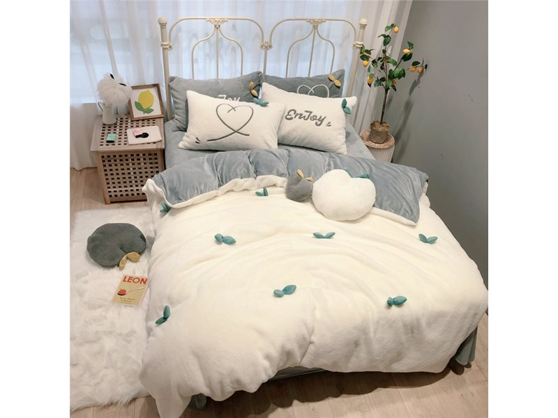 Warm Crystal Velvet Duvet Cover Set Cartoon Style 4-Piece Fleece Bedding Sets 6 Colors Optional