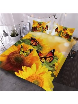 Yellow Butterflies On Sunflowers Printed 3-Piece Comforter Sets