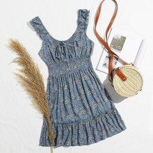 Kleid mit Band vorn, geraffter Taille und Bluemchen muster