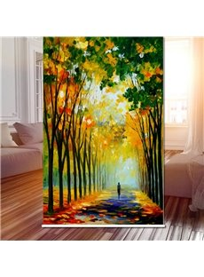 3D Plane Tree with Girl on the Pathway Printed Dust-Proof Roller Shades
