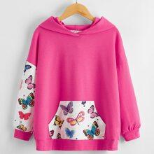 Pullover mit Schmetterling Muster und sehr tief angesetzter Schulterpartie