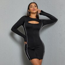 Zip Up Stitch Cut Out Front Bodycon Dress Without Belt
