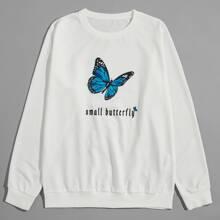 Sweatshirt mit Schmetterling und Buchstaben Muster