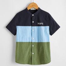 Boys Letter Print Colorblock Shirt