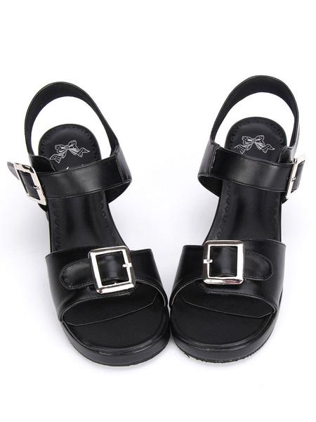 Milanoo Black/White Lolita Sandals Chunky Pony Heels Square Buckles Ankle Strap