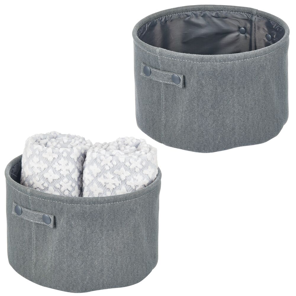 Small Fabric Bathroom Storage Bin, Coated Interior - Round in Charcoal Gray, 12