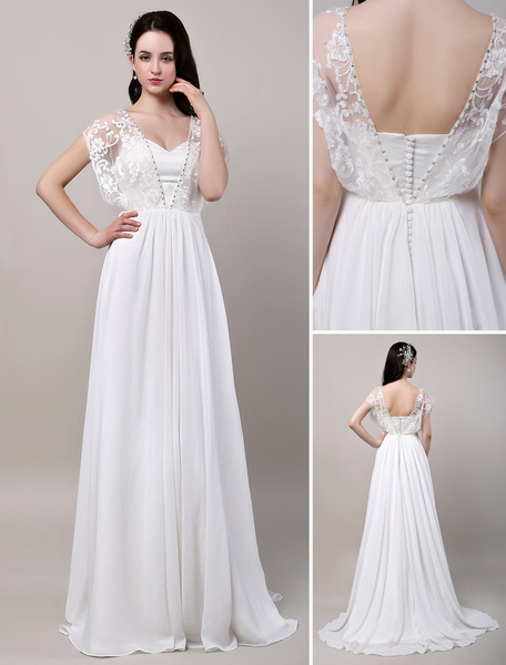 Milanoo Boho Wedding Dress Sweatheart Butterfly Lace Sleeves Chiffon