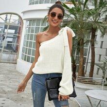 Pullover mit Band, einer Schulter und Laternenaermeln