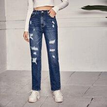 Jeans mit Bleichen Waschung, Riss und geradem Beinschnitt
