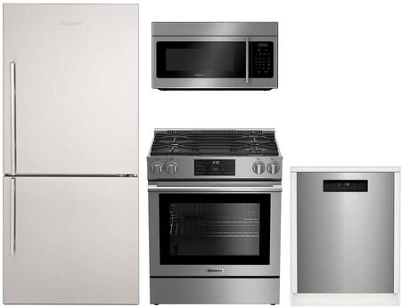 4 Piece Kitchen Appliances Package with BRFB1822SSN 30 Bottom Freezer Refrigerator  BGR30420SS 30 Slide-in Gas Range  BOTR30100SS 30 Over the