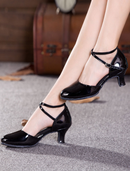 Milanoo Black Dance Shoes Women Round Toe Criss Cross Tango Dance Shoes Latin Dancing Shoes