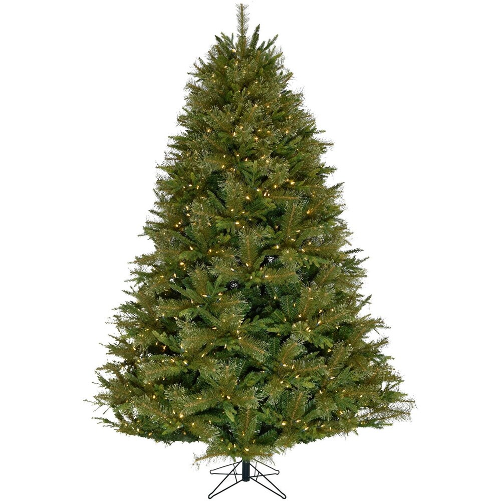 Fraser Hill Farm 9-Ft Victoria Pine Green Christmas Tree,White Lights - 9 Foot (Green - 9 Foot)