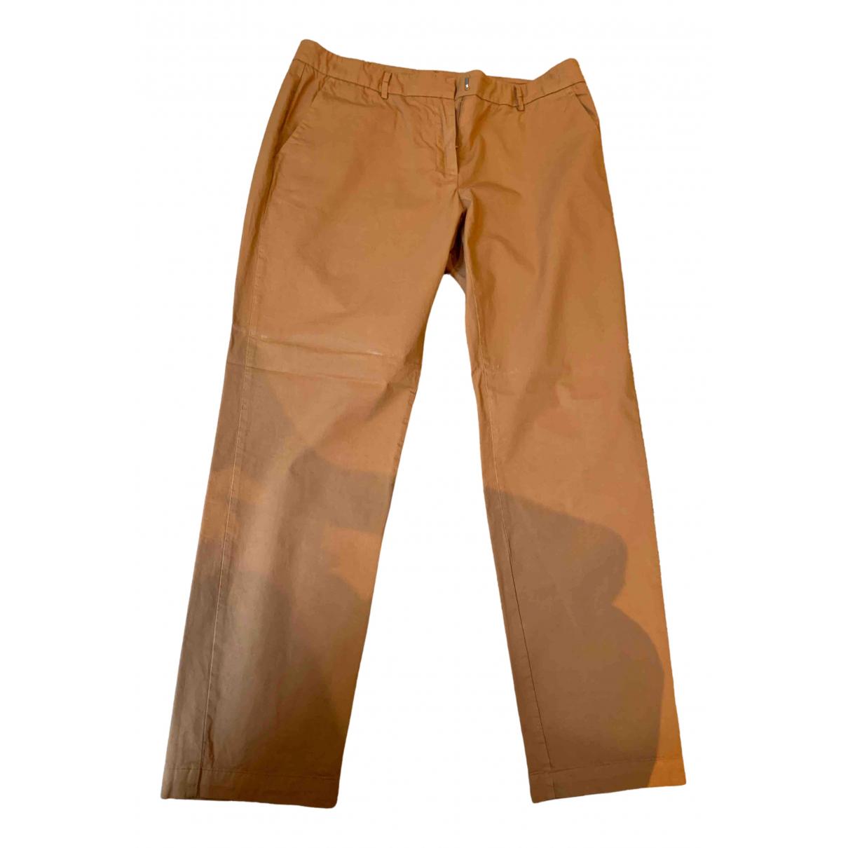 Pomandère N Camel Cotton Trousers for Women 38 IT