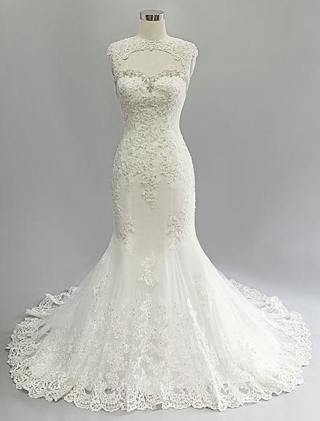 Milanoo Marfil vestido de novia con escote en corazon y cuentas de cola