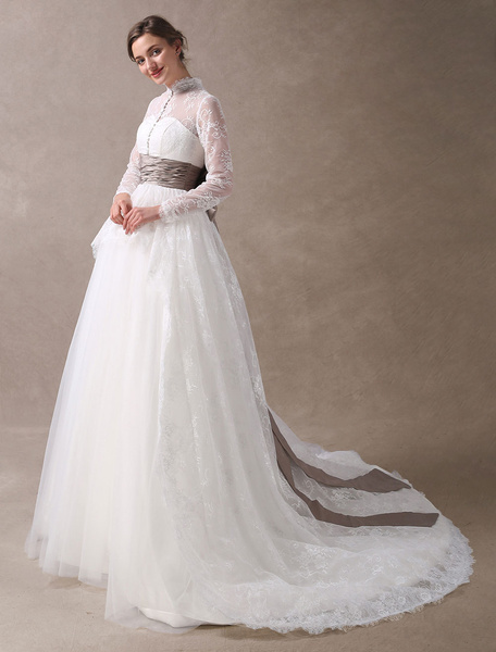 Milanoo Princess Wedding Dresses Ball Gowns Lace Long Sleeve Bridal Dress High Collar Buttons Illusion Ribbon Bow Ruched Sash Wedding Gowns With Train