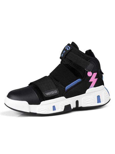 Milanoo Mens Sneakers Comfy Mesh Monk Strap Round Toe High Top Men\s Sneaker