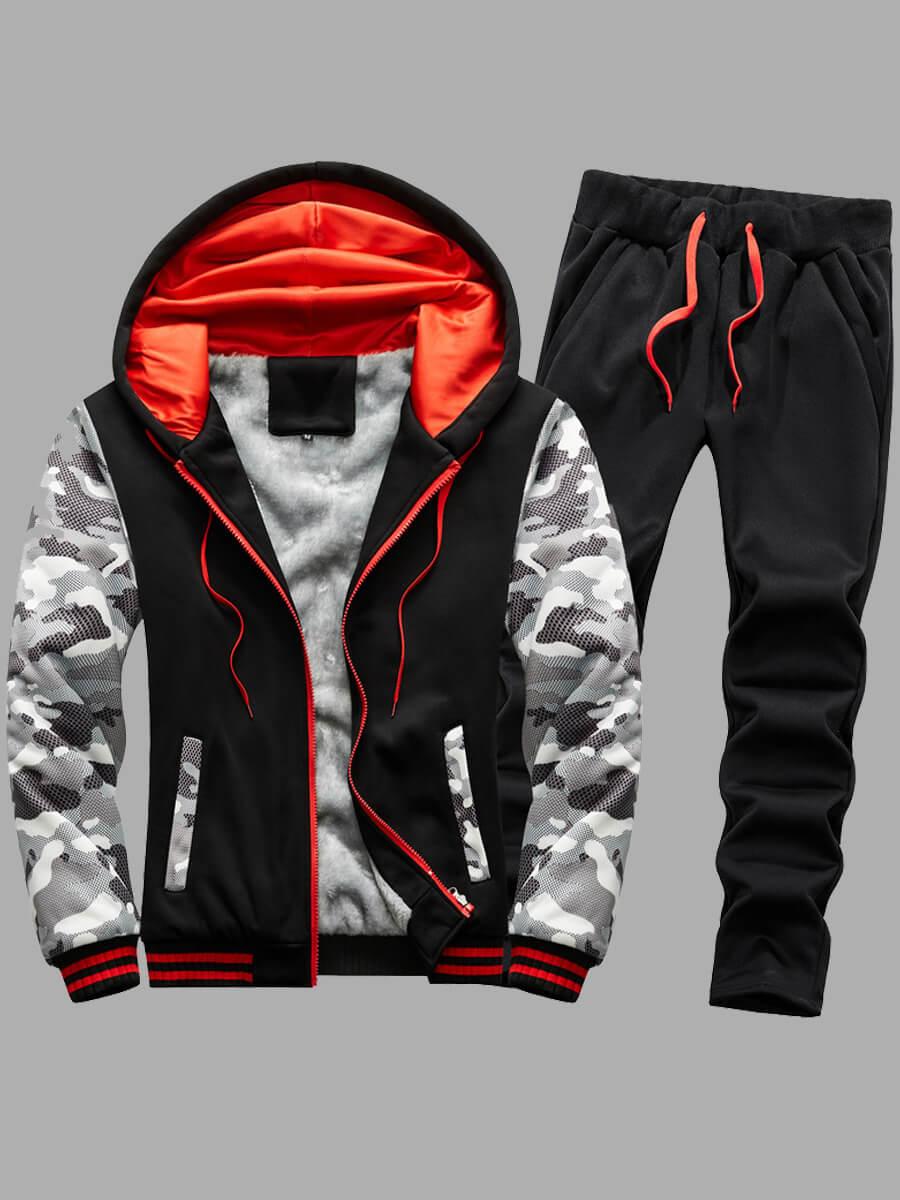 LW Lovely Trendy Hooded Collar Print Patchwork Black Men Two-piece Pants Set