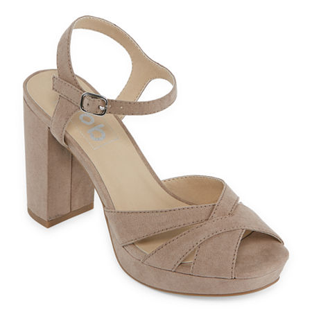 Pop Womens Garcelle Heeled Sandals, 6 1/2 Medium, Beige
