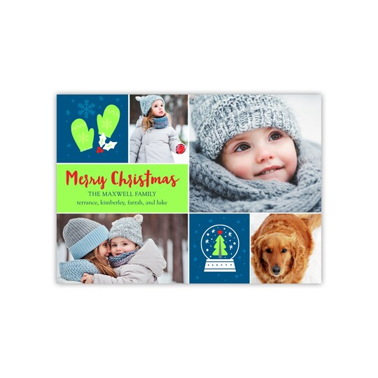 20 Pack of Gartner Studios® Personalized Christmas Icons Holiday Flat Photo Card in Navy Blue | 5