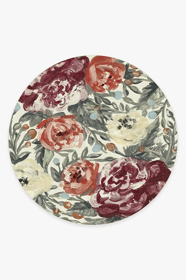 Washable Rug Cover & Pad | Camellia Currant Rug | Stain-Resistant | Ruggable | 8' Round