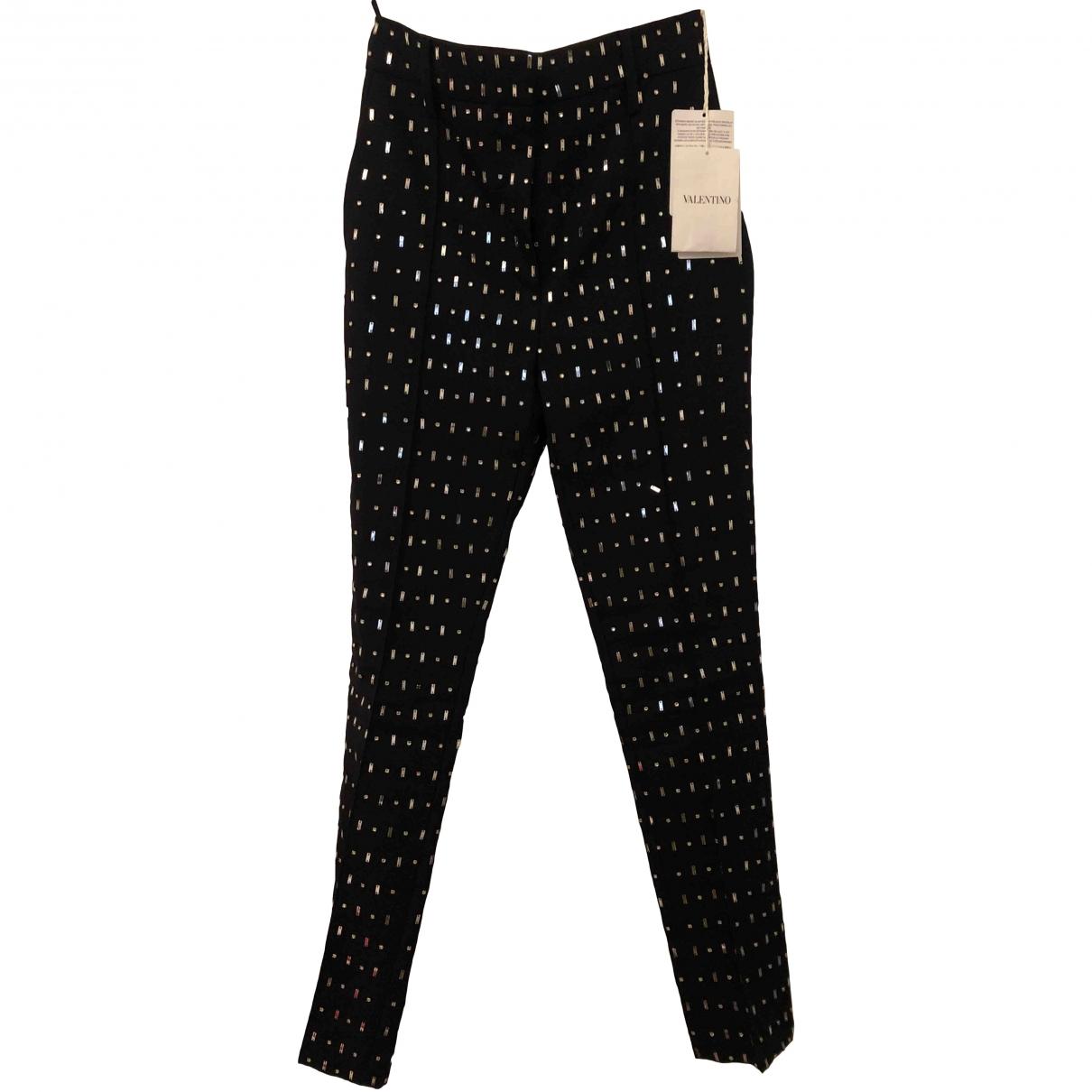 Valentino Garavani \N Black Spandex Trousers for Women 38 FR