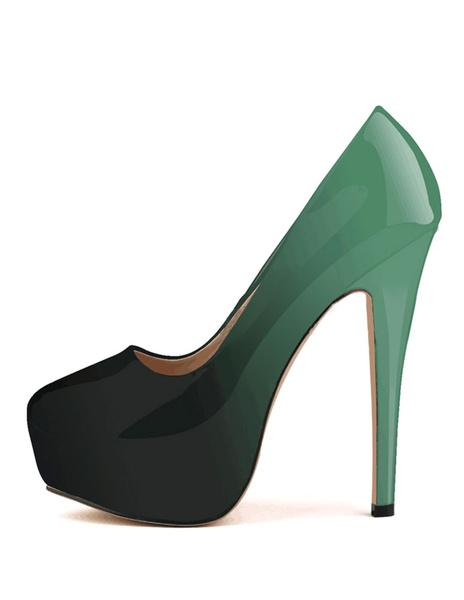 Milanoo Women's Platform Shoes High Heel Ombre Slip On Pumps