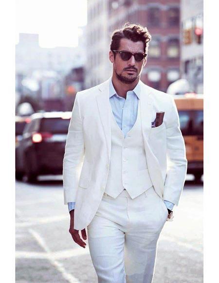 Mens Beach Wedding Attire Suit Menswear White 199