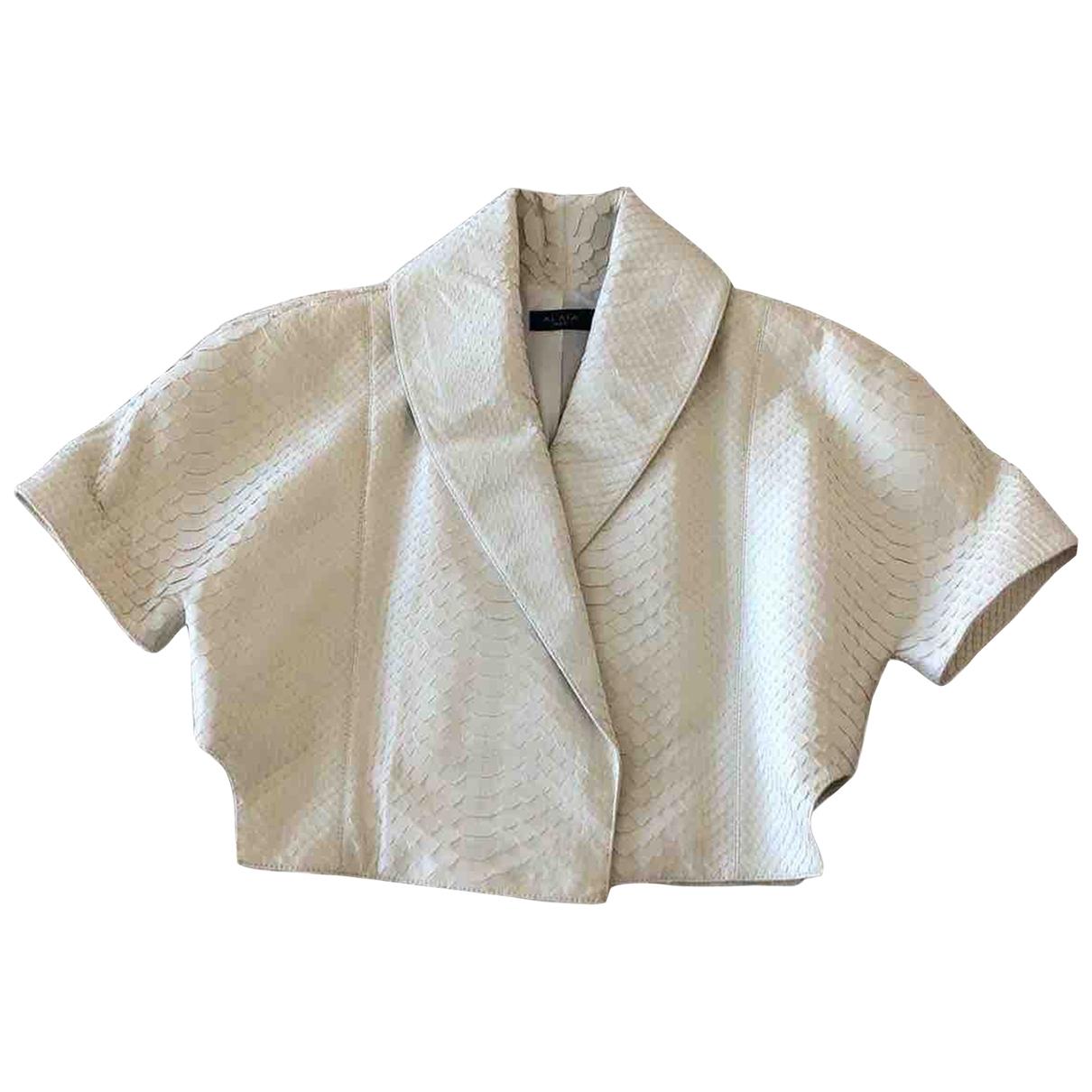 Alaia - Veste   pour femme en python - blanc