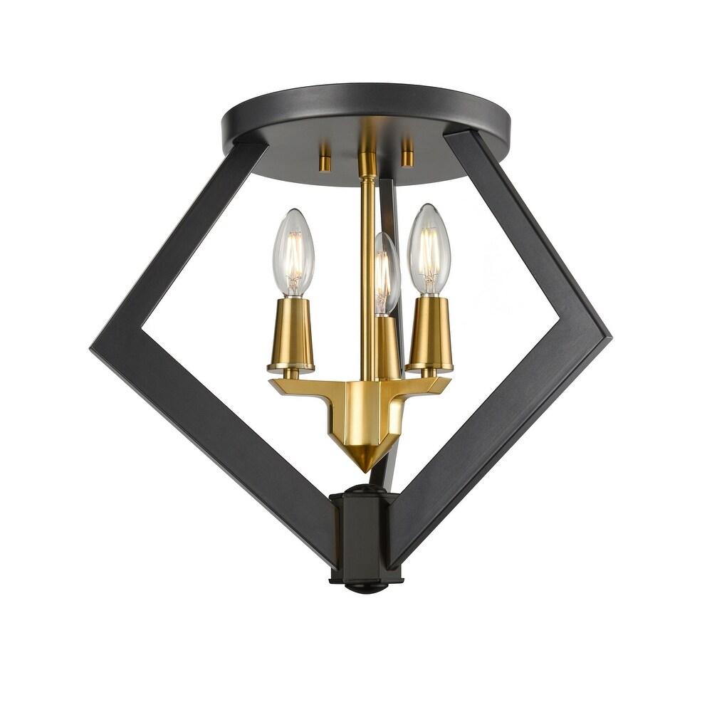 DVI Lighting DVP40132BR GR One Light Flush Mount Flechette Brass Grap - One Size (One Size - Clear)