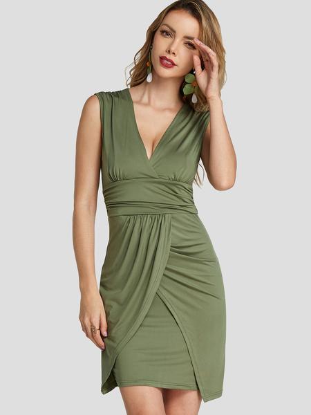 YOINS Army Green V-Neck Sleeveless Irregular Hem Mini Dress With Pleated