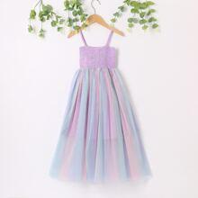 Vielfarbig Durchsichtiges Netz Colorblocks Glamouros Maedchen Kleider