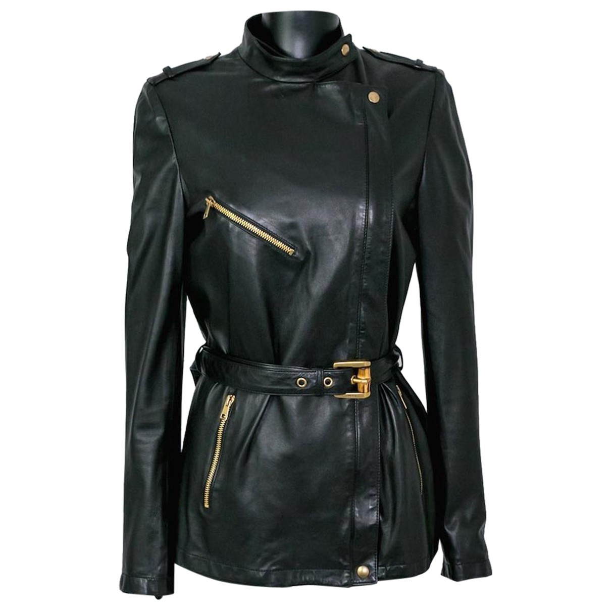Gucci N Black Leather jacket for Women 40 IT