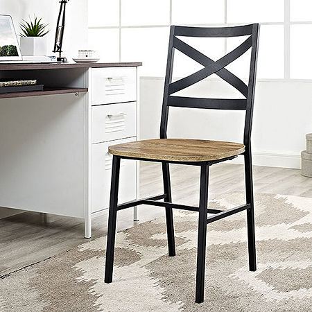 2-pc. Metal X-Back Wood Dining Chair, One Size , Brown