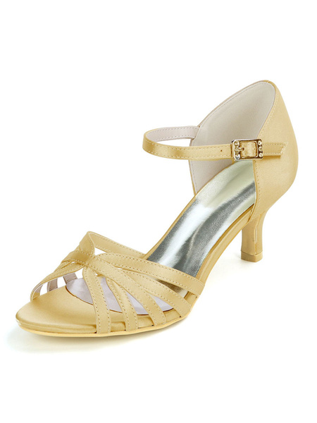 Milanoo Women\'s Wedding Shoes Satin Deep Purple Open Toe Buckle Kitten Heel