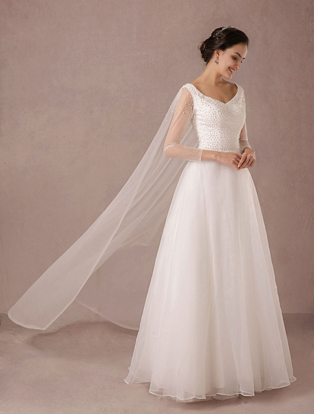 Milanoo Tulle Wedding Dress Long Sleeves Pearls Beading Floor-length A-line Bridal Gown In Queen Style With Detachable Tulle Cape