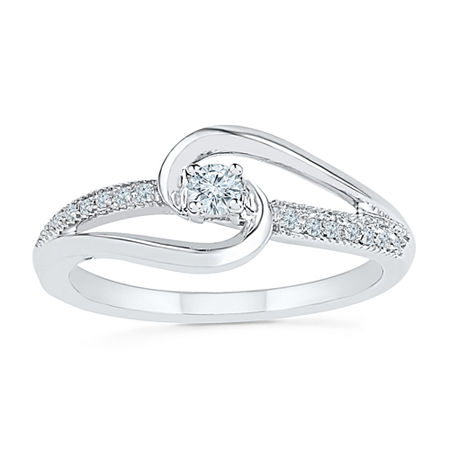 Promise My Love Womens 1/8 CT. T.W. Genuine White Diamond Sterling Silver Round Promise Ring, 5 , No Color Family