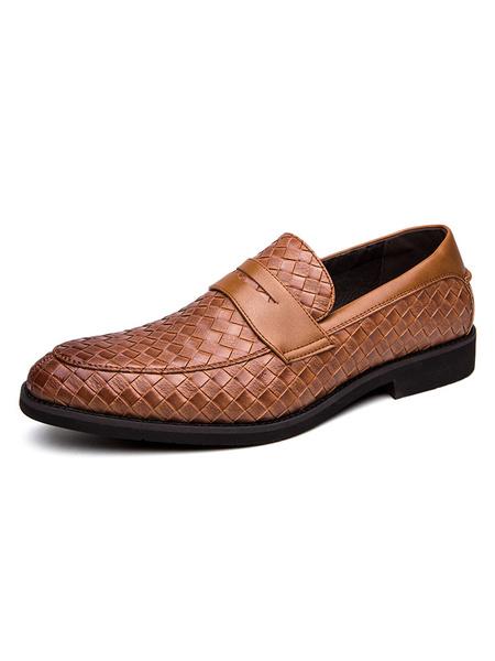 Milanoo Zapatos mocasines para hombre Zapatos de vestir de cuero PU con punta redonda con correa de monje a cuadros sin cordones