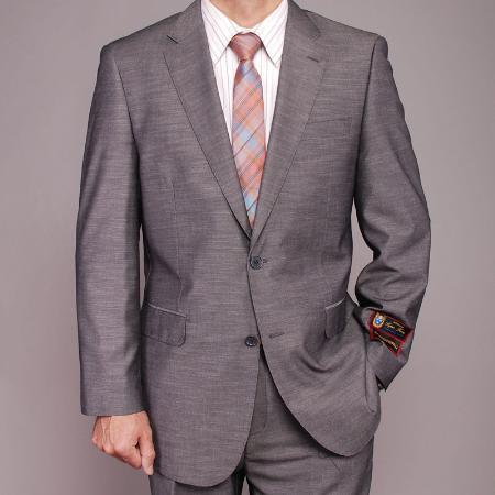 2 Button Gray Textured Slim fit Suit Mens Cheap