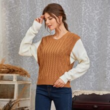 Cable Knit Colorblock 2 In 1 Sweater