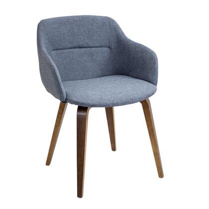 CH-CMP WL+BU Campania Mid-century Modern Chair in Walnut and