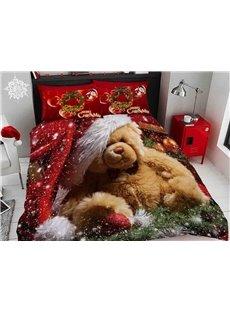 Brown Bear Wearing Christmas Hat Digital Printing Cotton 5-Piece 3D Comforter Sets