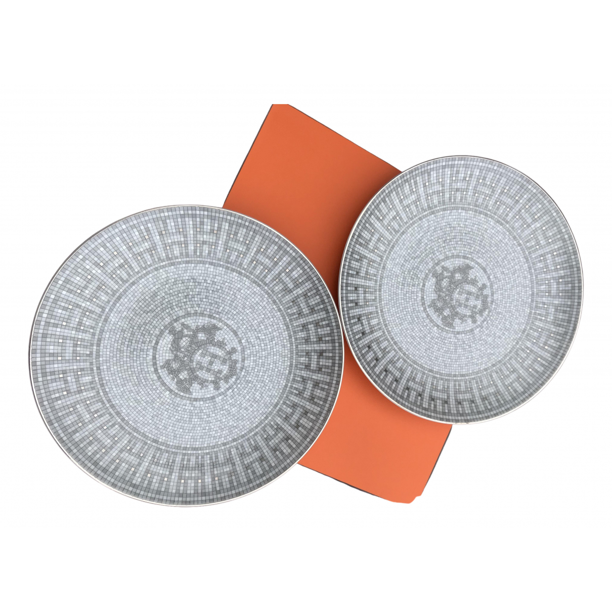 Hermes - Arts de la table Mosaique au 24 pour lifestyle en porcelaine - gris