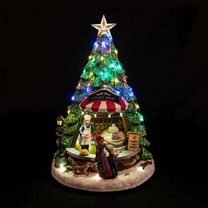 Polyresin LED Christmas Tree Candy Shop with Turning & Music, 13''