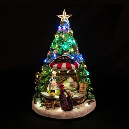 Noël Magasin de bonbons d'arbres à LED en polyrésine, 13''