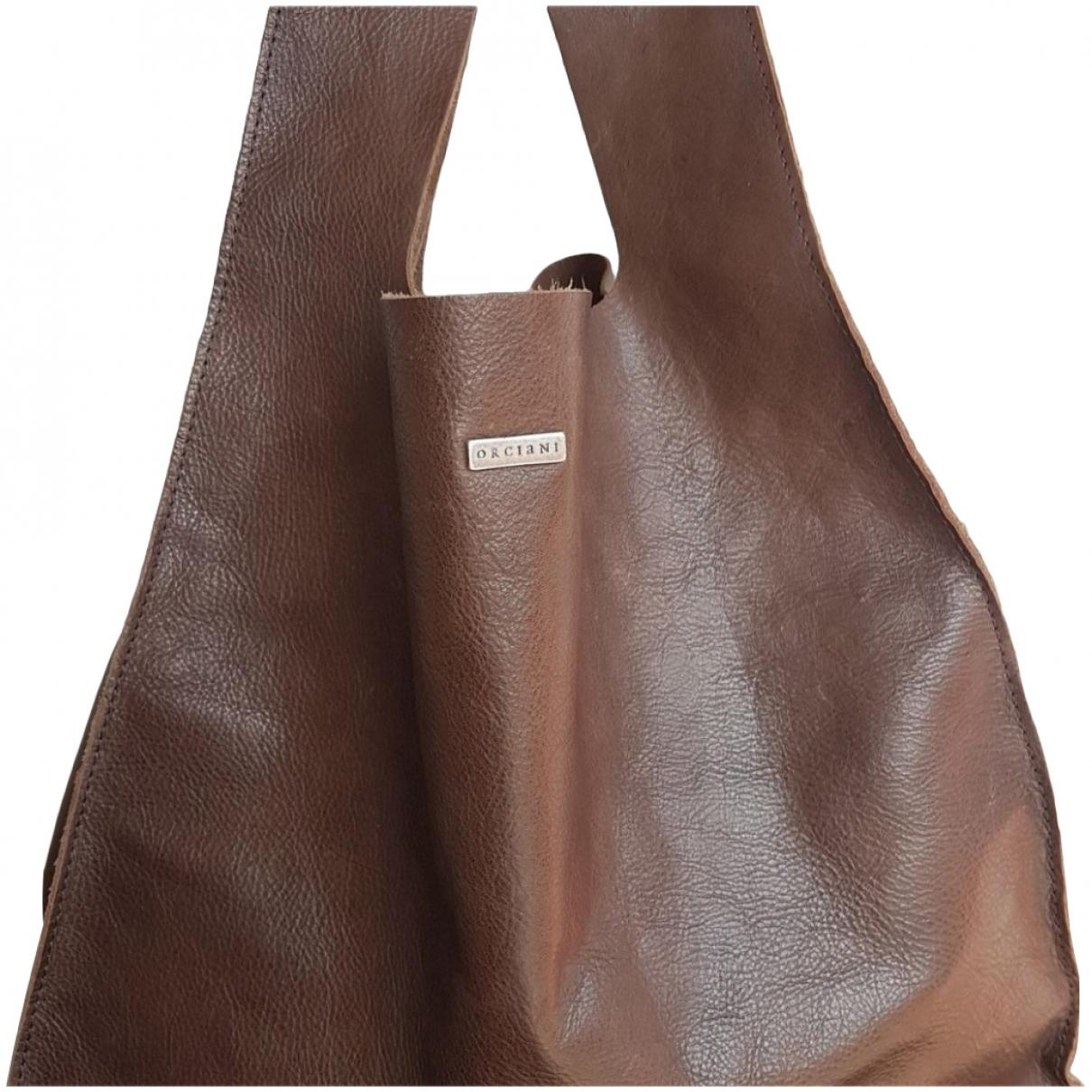 Orciani - Sac a main   pour femme en cuir - marron