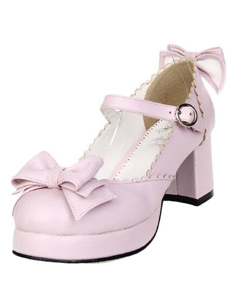 Milanoo Zapatos de lolita de color liso con lazo