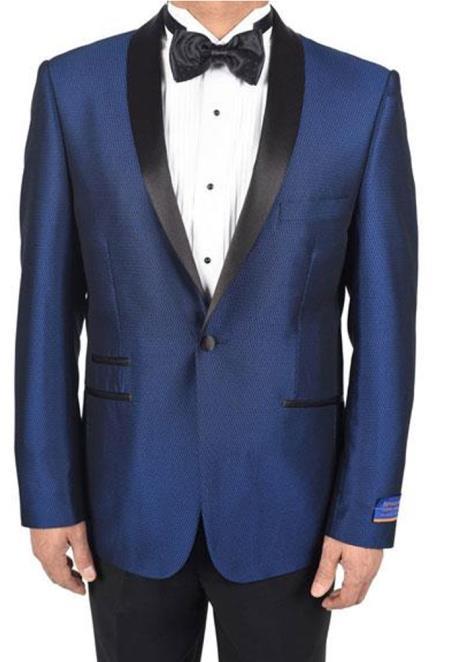 Mens Blue 1Button Tuxedo Pattern 150s Viscose Blend Dinner Jacket