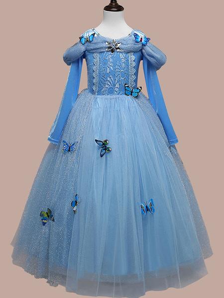 Milanoo Kids Halloween Cosplay Blue Princess Cindrella Tulle Starlet Dress Cotton Child Costume Wears