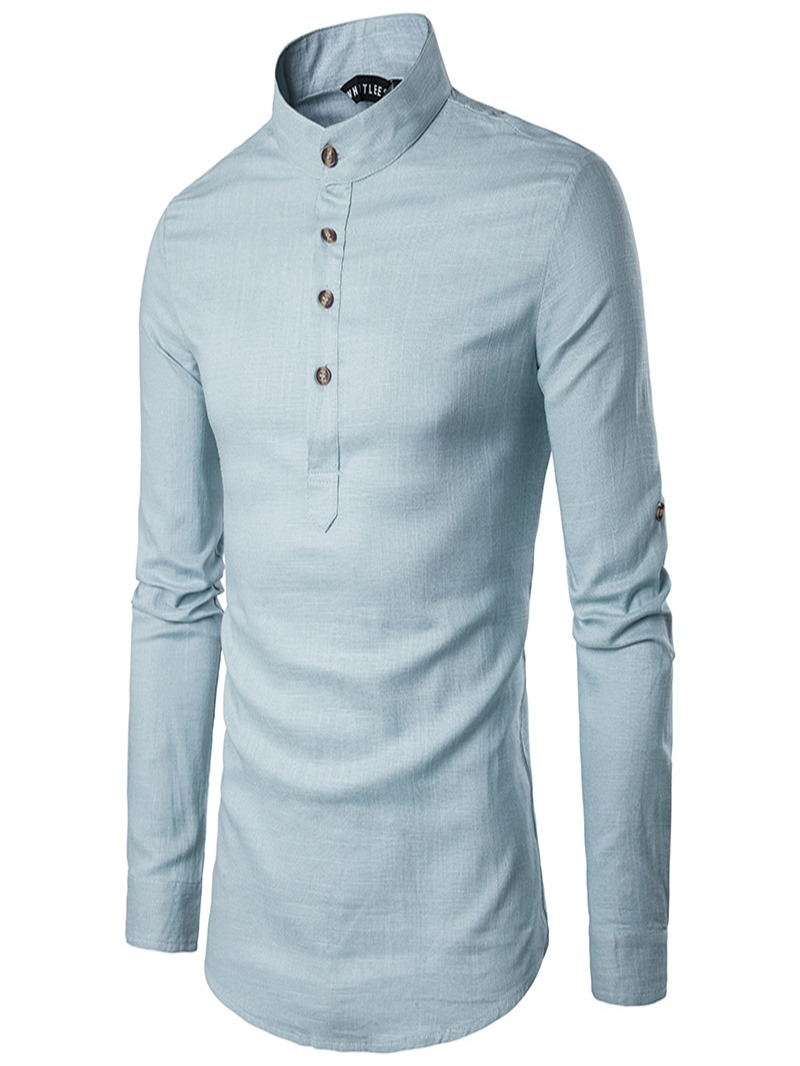 Ericdess Plain Stand Collar Pullover Slim Fit Men's Shirts